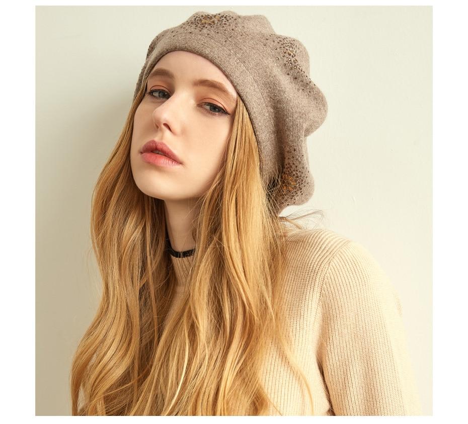 VIANOSI Wool Beret Female Winter Hats For Women Flat Cap Knit Cashmere Hats Lady Girl Berets Hat Female 10