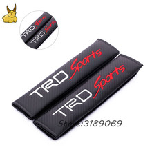 1Pair Carbon Fiber Car Styling Car Seat Belt Cover Auto Seat Pad For Toyota TRD Sports Logo Camry Corolla Levin RAV4 Crown Vigo(China)