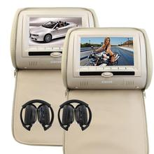 Pair of Headrest Double Beige Car DVD Pillow Monitors Dual DVD Player Twin Screens IR FM Transmitter & Infrared Headphones X 2(China)