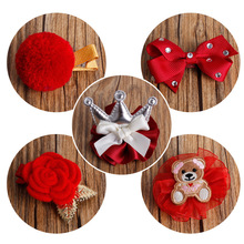 5Styles Girls Cute Lovely Bear Delicate Silver Crown Red Bowknot Hair Clips Kids  DIY Crafts Hair Accessories
