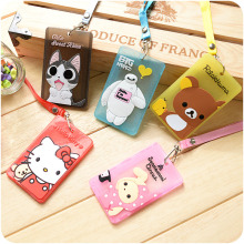 12 pcs/Lot ID holder Cartoon Card case with string Cute kitty Rilakkuma Baymax Totoro Cute Stationery Office School supply 5514