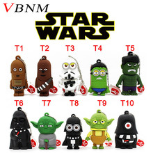 VBNM Pen Drive Star Wars Darth Vader Cartoon Lanyard Pendriver Chewbacca USB Flash Drives 8GB 16GB 32GB 64GB U disk Gifts