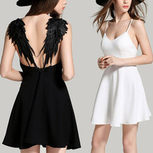 Buy 2016 New Summer Dresses Beach Spaghetti Strap V-neck Lace Angel Wings Black White Mini Sexy Backless Party Dress Vestidos for $8.39 in AliExpress store
