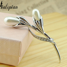 Iutopian 2014 Elegant Tulip Flower Brooches With Austrian Crystal Stellux Gift For Her Top Quality #RG50413(China)