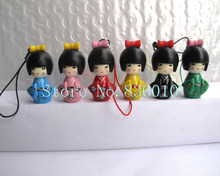 New lot of 6 pcs Japanese kokeshi doll mobile phone strap Charm Childre's W5(China)