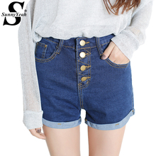 SunnyYeah High Waist Shorts Women Summer 2018 New Ladies Casual Denim Short Jeans Button Sexy Short Feminino Mujer Plus Size(China)