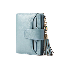Crystal Tassel Women Purse Candy Color Genuine Cow Leather Short Wallet Card Holder Coin Packet Wallet Clutch for Ladies