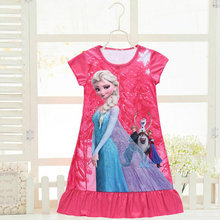 2017 Summer girls dress Elsa and Anna Princess dresses for girls night gown Pajamas night dress Kids Sleepwear Pyjamas clothes(China)