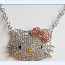 Hot Sale Big Size Full Rhinestones Alloy Hello Kitty Necklace Wholesale Hello Kitty Jewelry Gift for Women Aaccessories 1Pc/Lot