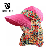 [FLB] Wholesale Fashion Face Protection Sun Hat Summer Foldable Hats For Women Anti-UV Wide Big Brim Adjustable Women Hat Summer(China)