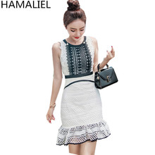 Buy HAMALIEL High Summer Women Sexy Dress 2017 Runway Sleeveless Black White Patchwork Lace Bodycon Slim Party Mermaid Dress for $25.52 in AliExpress store