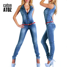 catonATOZ 2043 New Arrival 2017 Sleeveless Jumpsuit Jeans Sexy Bodysuit Women Denim Overalls Rompers Girls Pants Jeans Ladies(China)