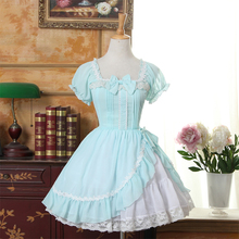 Custom Made  Summer Light Green Sweet Lolita Dress Square Neck Short Sleeve Ruffled Girl's Short Chiffon Dress