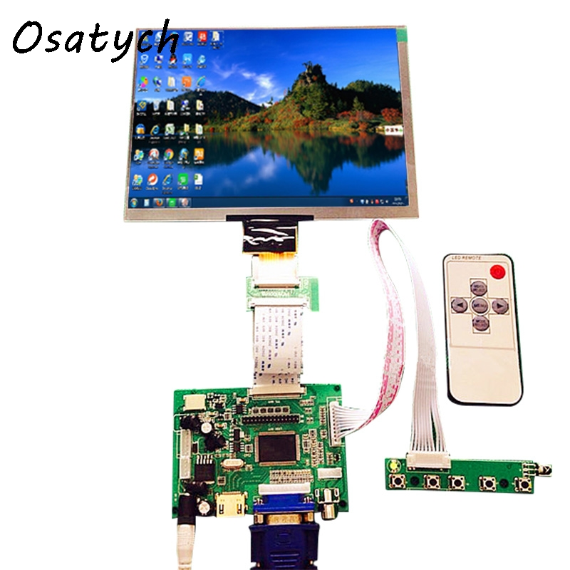 HDMI VGA 2AV 50PIN TTL LVDS Controller Board Moudle+8inch 1024*768 HE080IA-01D LCD Display Screen Matrix for Raspberry PI<br>
