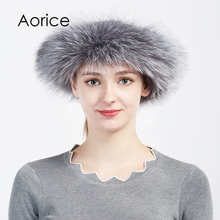 Aorice HF714 The new women winter caps real silver fox fur hair headband 2017 brand new style real fur bands(China)