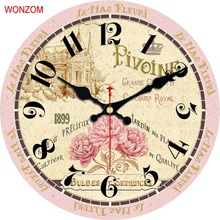 WONZOM Wall Clock Rose Design Relogio De Parede Large Silent For Living Room Flower Wall Decor Saat Home Decoration Watch Wall