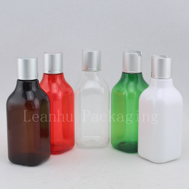 200ml square bottle with silver disc top cap (2)