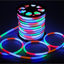 10m/roll 110V 220V led flex neon light 2-wires with 80led/m Red/Blue/Green/RGB/White/Yellow Color Free shipping(China)