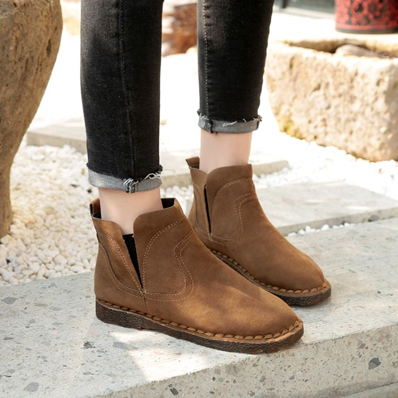COOTELILI Warm Winter Fleece Ankle Boots For Women Open Toe Pu Leather Snow Boots Fashion  Rubber Shoes Women 35-39 (3)
