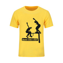 American skateboard powell peralta skate like a girl Men t-shirt brand logo streetwear male tshirt funning tee shirt palace(China)