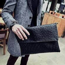 ETONWEAG 2017 Men PU Leather Fashion Ostrich pattern Clutch Bag Envelope Clutches Bags Shoulder Messenger Business Pack