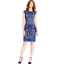 2016 Spring   Fashion  Arrival Women Sunflower Print Women Dress Fashion Blue O-Neck Work Dresses