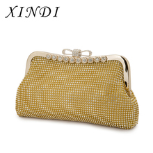 Bags for women 2017 Women Evening Bags shopping bag Ladies Clutch Gold Diamonds Purses With chain Totes Handbags Wedding Party(China)