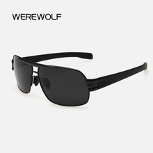 WEREWOLF 2017 Large Alloy Sunglasses Polarized Sunglasses Driving Men Sun glasses Classic Women Femininity Free Shipping Gozluk(China)