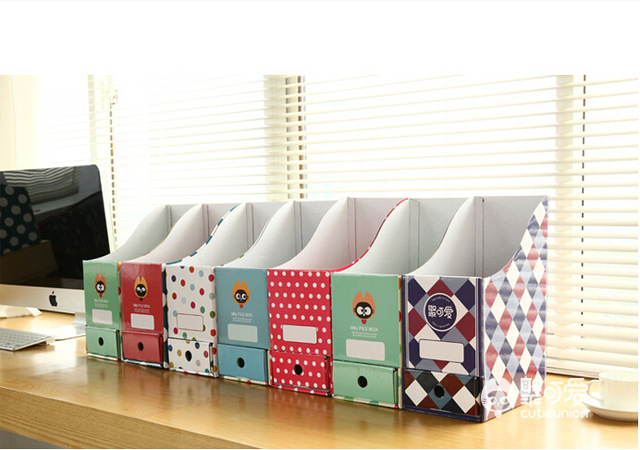 free shipping Cute desktop storage box paper box Korea creative office desk file shelf bookcase(China)