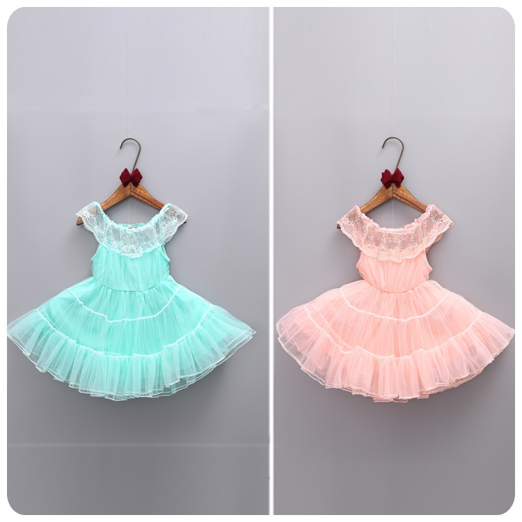 2016 Summer Korean Childrens Garment Six One New Pattern Girl Baby Lace Lotus Leaf Lead Yarn Princess Dress Full Dress<br>