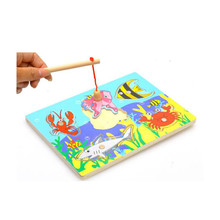 Children Fishing Game & Wooden Ocean Jigsaw Puzzle Board Magnetic Rod Toy Outdoor Fun Toy Gift For Kid FREE SHIPPING