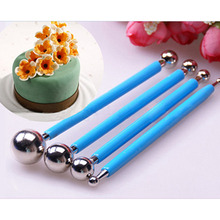 4pcs/Set Metal Ball Fondant DIY Stainless Steel Cake Decorating Kit Flower Molds Kitchen Dessert Decoration Supplies Tools