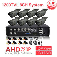 CCTV IP66 1080N HDMI DVR AHD 720P 1200TV 8CH Security Camera System IR CUT Color Video Surveillance Kit P2P PC Phone Mobile View(China)
