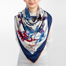 Evrfelan 2017 Brand Women Silk Scarf Luxury Flower Printed Silk Shawl Casual Scarves Women Fashion Scarf Wholesale(China)