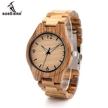 BOBO BIRD G24 Men's Design Brand Luxury Zebra Wooden Bamboo Watches With Full Real Wood Band Quartz Watch in Gift Box