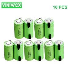 2200mAh 1.2V SC Ni-CD Rechargeable Battery Subc NiCd Battery Cells DIY to 12V Battery Packs Accumulator 10PCS with Nickel Stripe