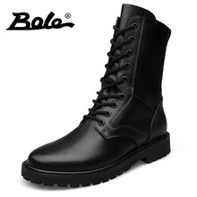 BOLE 37-52 Big Size Genuine Leather Men Boots Lace Up High Top Men Military Desert Leather Boots Men Fashion Round Toe Men Boots(China)