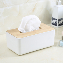 Enjoy Life Home Kitchen Use Wooden + Plastic Tissue Box Modern Design Solid Wood Napkin Case Simple and Stylish V3386(China)