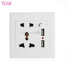 Socket+2 USB+Switch Wall Socket Charger AC/DC Power Adapter Plug Outlet Panel -S018 High Quality