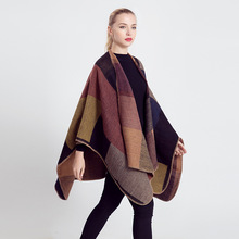 Poncho Scarf Winter Warm Wool Blanket Scarf 2018 Fashion Women Long Cashmere Pashmina Scarf Shawl Thick Scarves Cape Wrap MT1644(China)