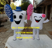 a pair of healthy tooth mascot costume adult size cartoon girl/boy teeth mascotte dentist advertising fancy dress 2466(China)