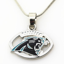 10pcs/lot Carolina Panthers Football necklace pendant Jewelry with snake chain(45+5cm) sports necklace jewelry(China)
