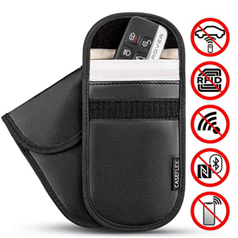 Carbon Fiber Signal Blocking Pouch Case Antitheft Fob Guard Credit Card Radiation Block RFID//WiFi//GSM//LTE//NFC 2 Pack Faraday Bag for Car Key Fob