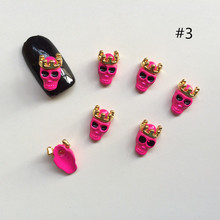 50pcs/lot Metal Colorful Skull 3d Alloy Nail Art Decoration Nail Jewelry DIY Beauty Halloween Nail Accesories