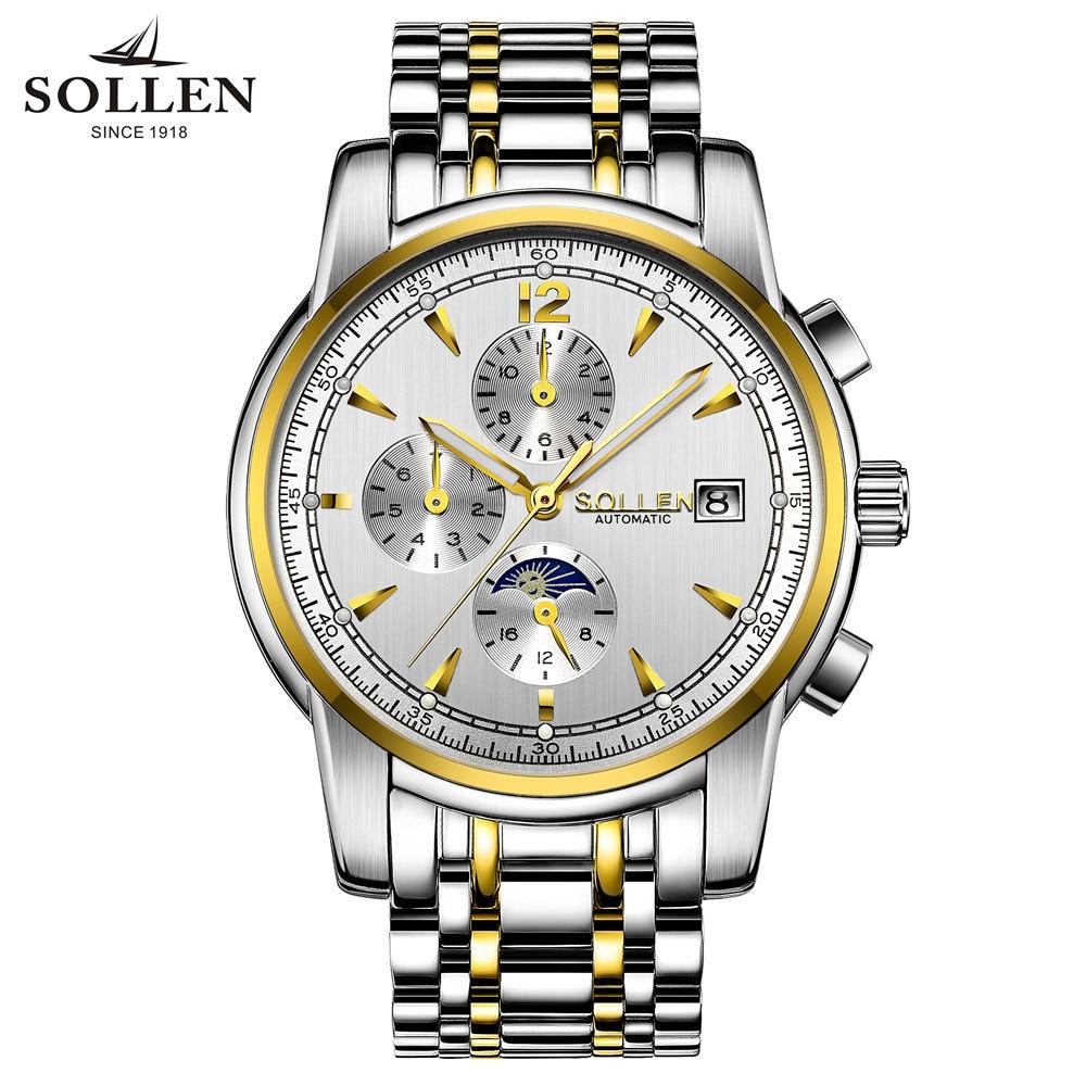 2016 TOP men watches men Luxury brand automatic mechanical watches Fashion multi-functional sports waterproof watch SOLLEN #803<br><br>Aliexpress