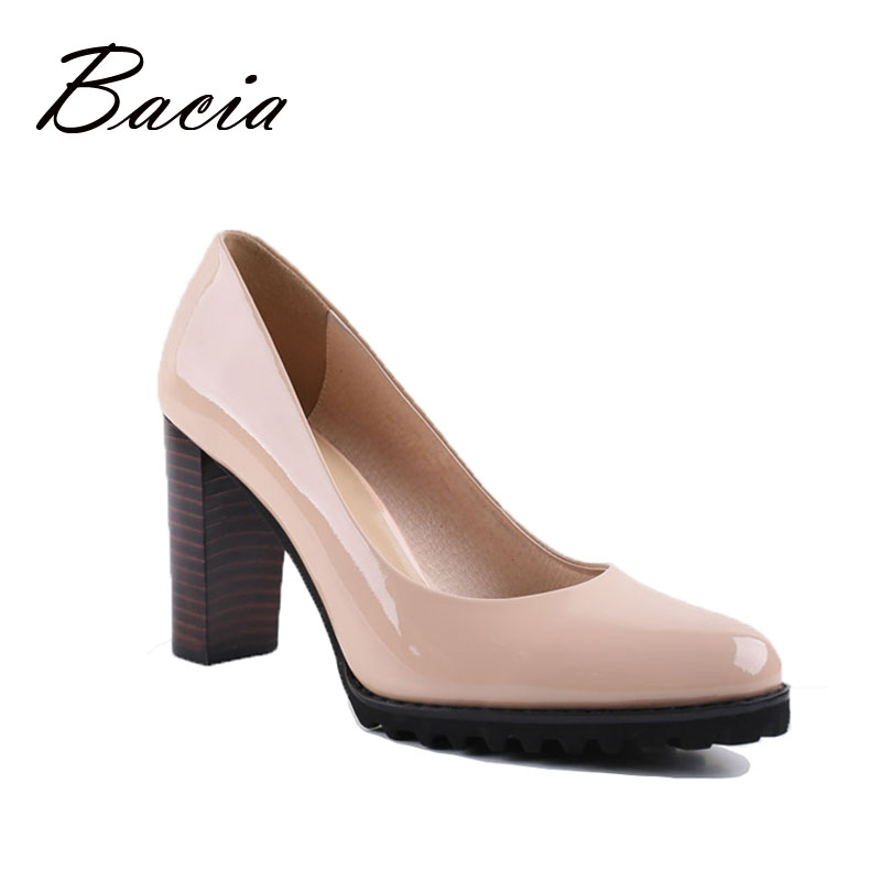 Bacia Square Heel pumps Genuine Leather Shoes For Women Luxury Quality Heels Round Toe Slip On Bridal Shoes Russion Size VA003<br><br>Aliexpress