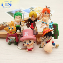 (LONSUN)New 6Pcs/Set One Piece Luffy Chopper Sanji Roronoa Zoro Nami PVC Figure Toy Keychains Pendants 4cm Mini Toys(China)