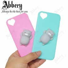 3D Cat Case for iphone 7 7 plus 6 6s plus Case Lovely Soft Poke Squishy Soft TPU Back Cover Pinch Relieve Pressure Phone Cases(China)