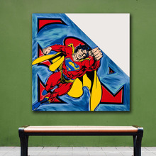 Oil Painting POP Superman Limited Edition II Wall Decor Painted Wall Art Canvas Printed Living Room Painting Wall Art Pictures(China)