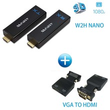 Measy W2H Nano Wireless HD Sender Kit with Receiver and Transmitter 30M/100FT (W2H NANO+VGA TO HDMI)(China)